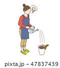 水やり 芽 主婦のイラスト 47837439