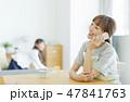 女性 子供 電話の写真 47841763