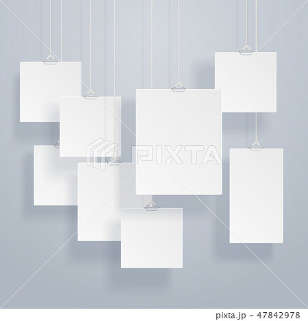 Blank hanging photo frames or poster templates with drop shadows on wall vector set 47842978