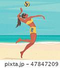 女 女性 スポーツのイラスト 47847209