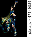 handball player young man isolated speed light painting 47849884