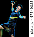 handball player young man isolated speed light painting 47849888