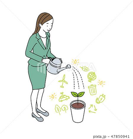 エコ エコロジー イメージ イラスト 女性 みずやり 47850941