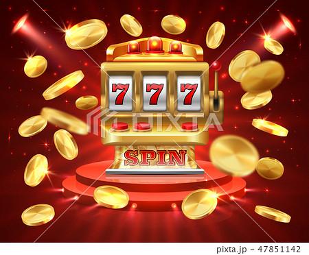 Slot machine banner. Casino gambling roulette online lottery jackpot 3D realistic gambling 47851142