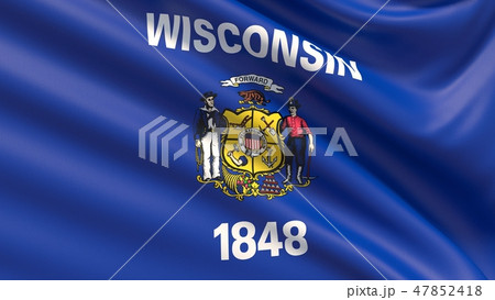 State of Wisconsin flag. Flags of the states of USA. 47852418