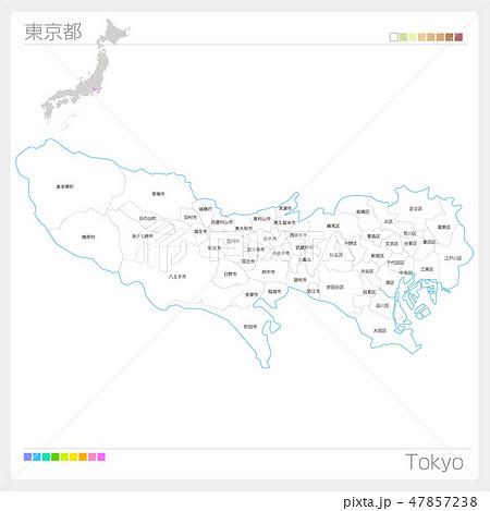東京都の地図(市町村・区分け) 47857238