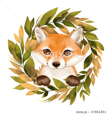 Cute cartoon fox and wreath 47861801