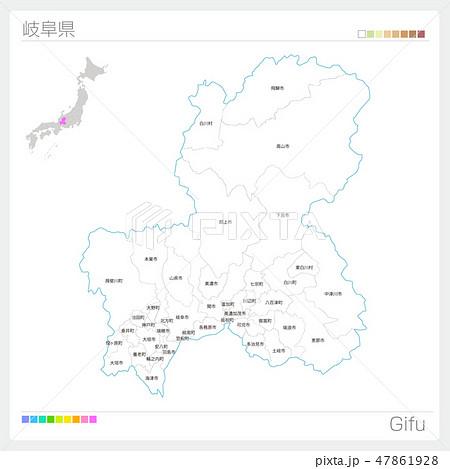 岐阜県の地図(市町村・区分け) 47861928
