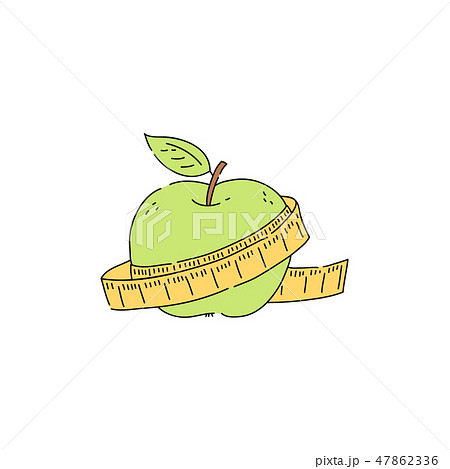 Vector green apple with measuring tape icon 47862336