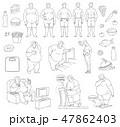 ベクトル ダイエット 男のイラスト 47862403