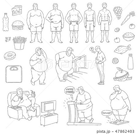 Vector healthy food fit people fastfood obese men 47862403
