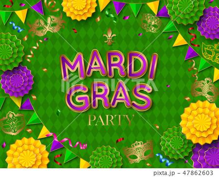 Mardi Gras party poster. Shrove tuesday. Vector illustration 47862603