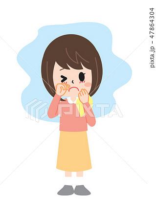 花粉症の女性 目のかゆみ 47864304