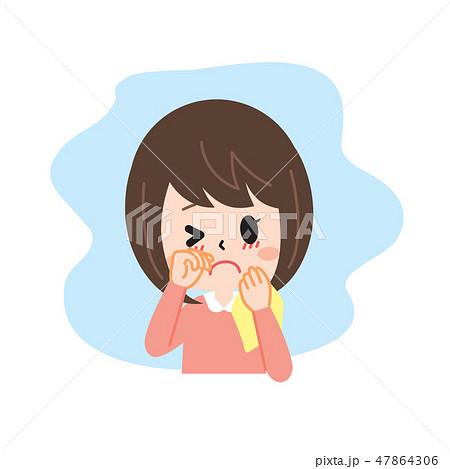 花粉症の女性 目のかゆみ 47864306