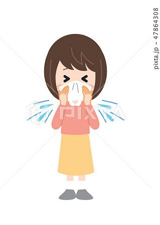 花粉症の女性 くしゃみ 47864308