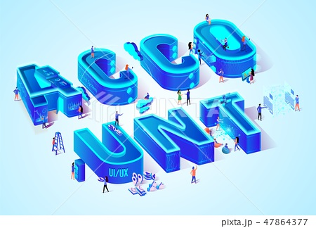Vector 3d Neon Isometric Word Account and People 47864377