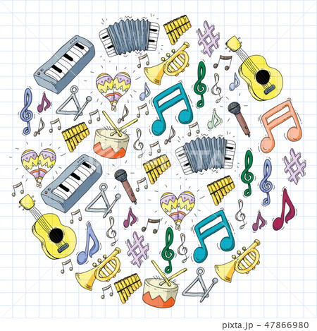 Music background for patterns. Vector illustration with musical instruments. 47866980