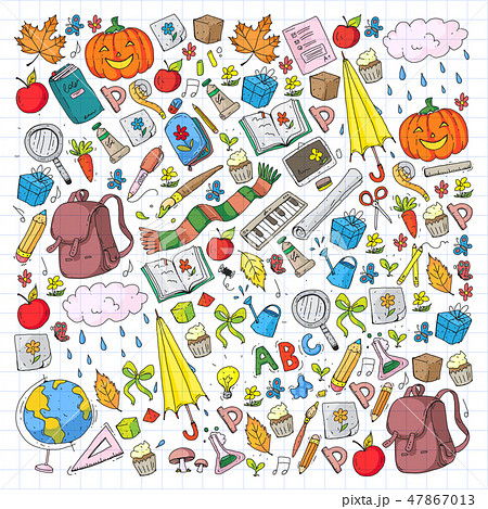Back to school vector pattern. Education icons for children. 47867013