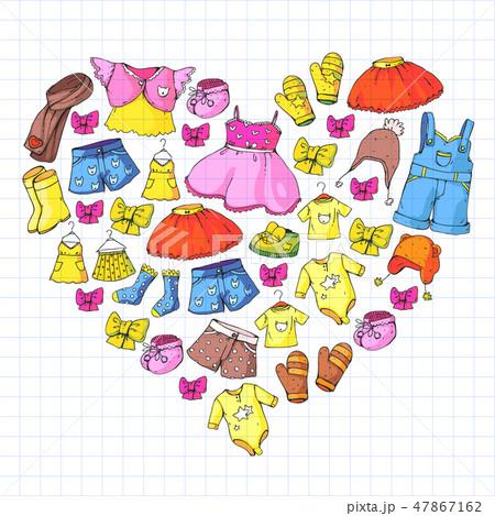Children clothes. Background for babies, kids patterns. 47867162