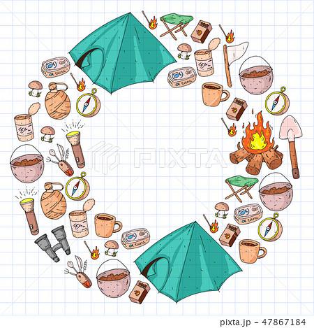 Camping vector illustration. Travel outdoor adventure 47867184