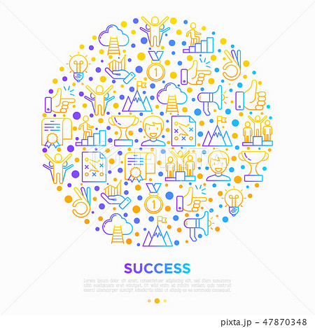 Success concept in circle thin line icons 47870348