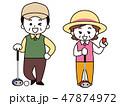 パークゴルフをする中年男女 47874972