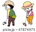 パークゴルフをする中年男女 47874973