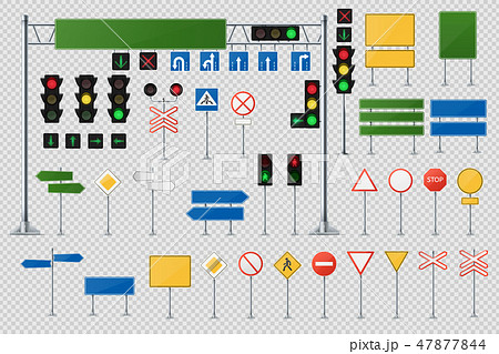 Big Realistic Set Of Road Signs And Traffic Lights And Semaphores. 47877844