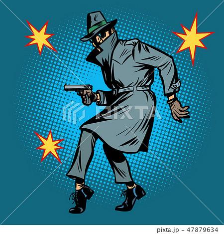 detective spy man with gun pose 47879634