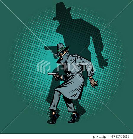 shadow Noir. detective spy man with gun pose 47879635