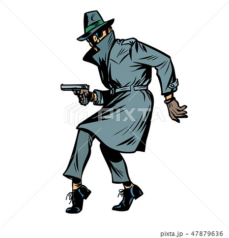 detective spy man with gun pose. isolate on white background 47879636