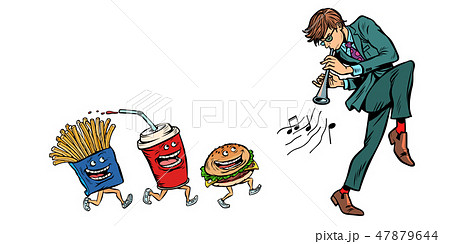 fast food goes for man playing music. isolate on white background 47879644