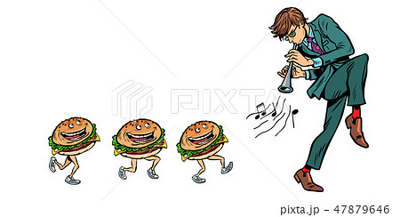 burgers go for a man with a pipe horn 47879646