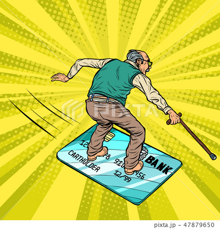Retired old man and Bank card. Going snowboarding or water Board. 47879650