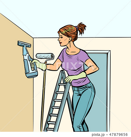 home cleaning, woman and spray of water 47879656
