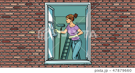 woman washes a window, home cleaning 47879660