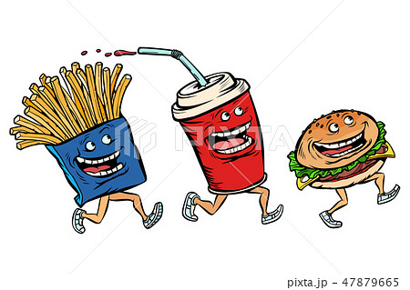 characters set fast food French fries Cola Burger 47879665