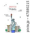 미국 세계 여행 라인 일러스트 47880215