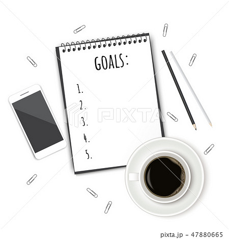 Notebook with wish list on white rustic table, flat lay style. Planning concept. 47880665