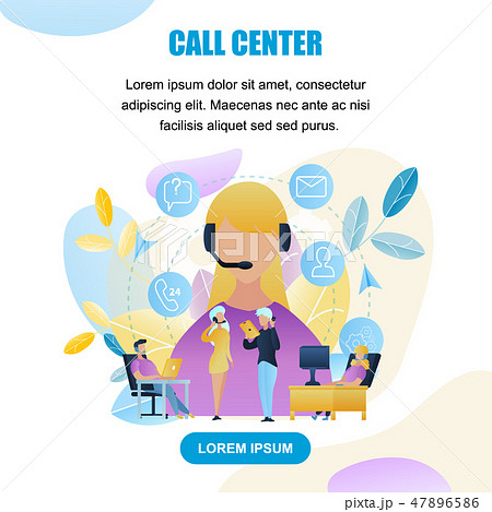 Illustration Group People Call Center Worker Store 47896586