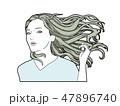 女性 ロングヘアー 風のイラスト 47896740