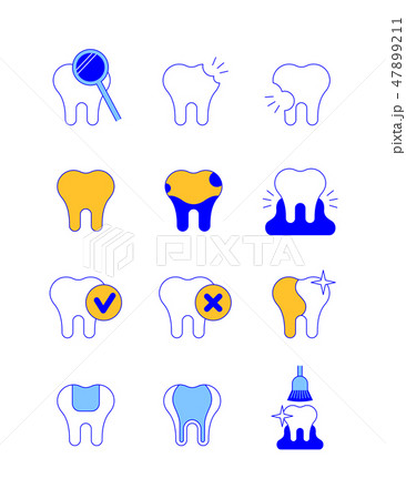 Dental diseases and treatment thin line icons 47899211