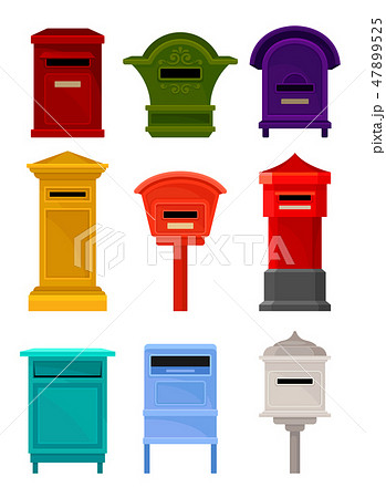 Flat vector set of mailboxes. Colorful containers for letters and newspapers. Iron postal boxes for 47899525