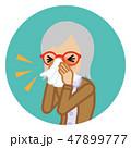 ティッシュで鼻をかむシニア女性 -円形アイコン 47899777