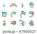 ウズベキスタン 旗 フラッグのイラスト 47900027