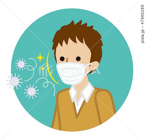 マスクをつけた男子生徒 風邪ウイルス対策 円形アイコンのイラスト素材