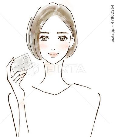 クレジットカード会員 セキュリティ カードを持つ女性 47902564