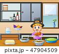 少年 持つ キッチンのイラスト 47904509