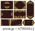 ゴールドフレーム飾り罫手書き 47904911