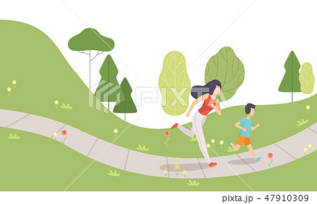 Mom and Her Son Running in Park, Family Doing Physical Activities Outdoors, Healthy Lifestyle and 47910309